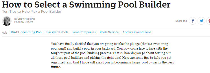 How to select a Swimming Pool Builder