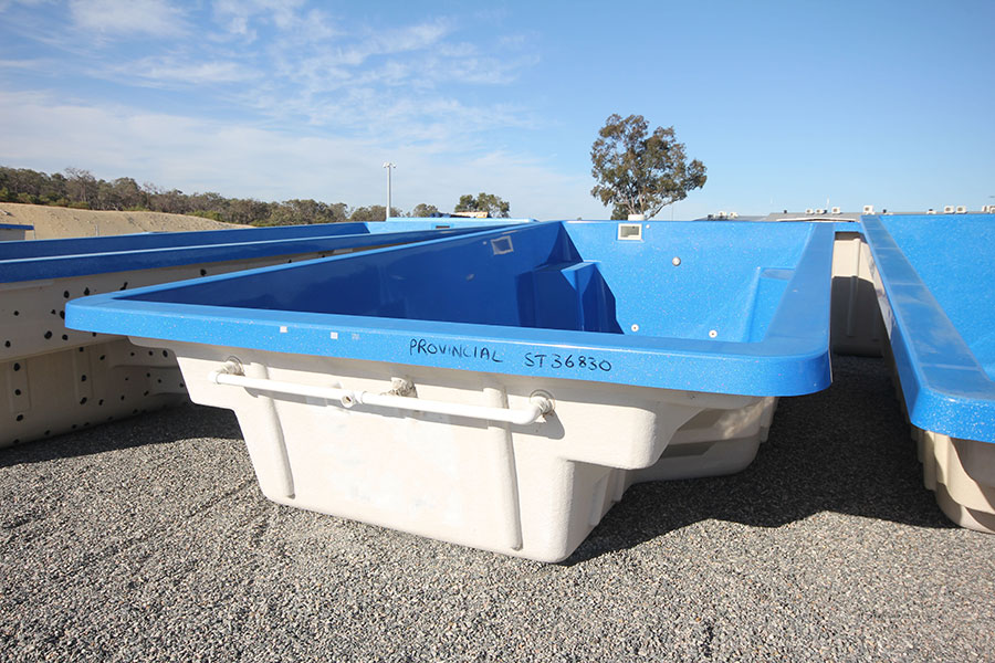 "Refurbished Fibreglass Swimming Pool ""Provincial"" for Sale in Perth (Colour: Cyber Blue)"