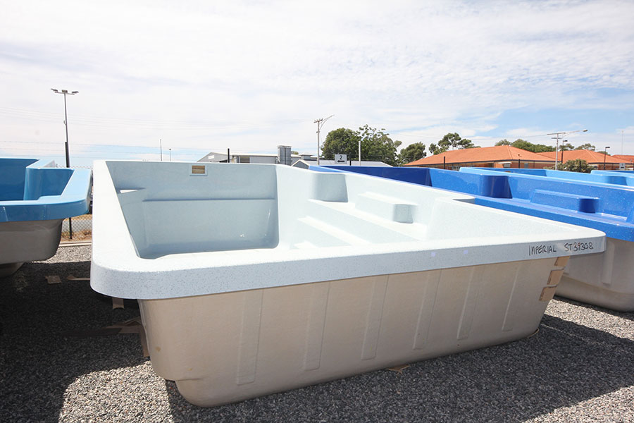 "Refurbished Fibreglass Swimming Pool ""Imperial"" for Sale in Perth (Colour: Silver Mist)"