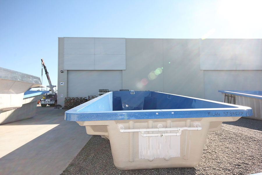 "Refurbished Fibreglass Swimming Pool ""Milan"" for Sale in Perth (Colour: Assana Blue)"